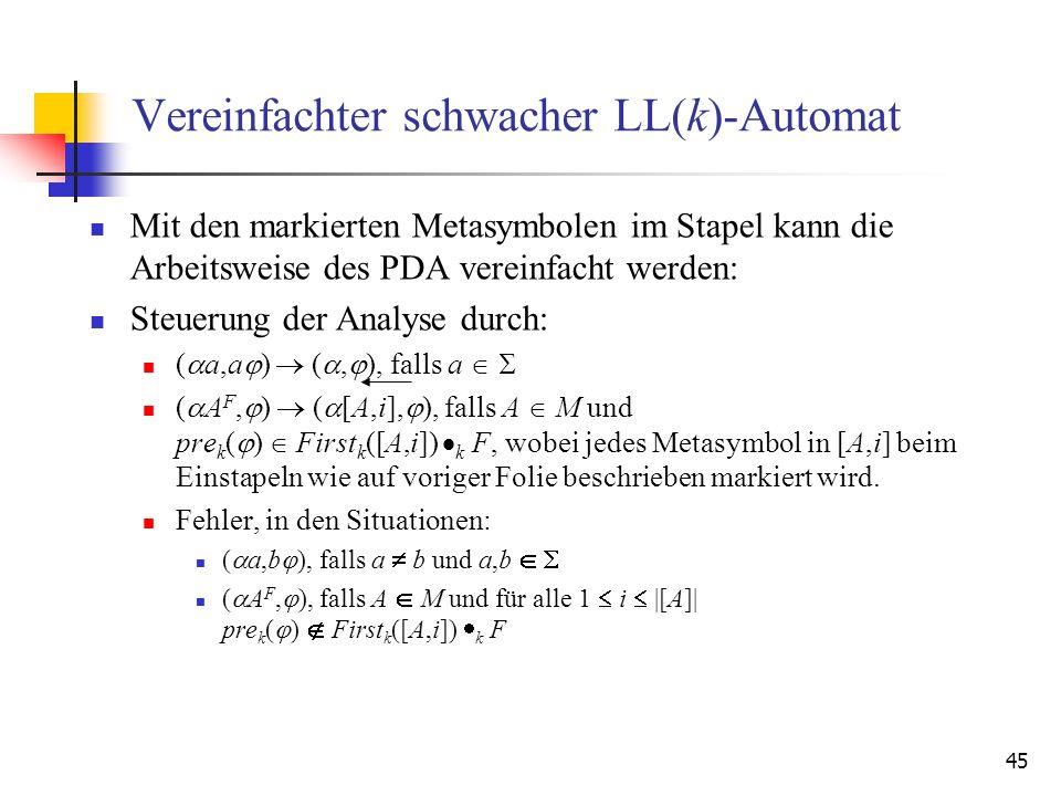 45 Vereinfachter schwacher LL(k)-Automat Mit den markierten Metasymbolen im Stapel kann die Arbeitsweise des PDA vereinfacht werden: Steuerung der Ana