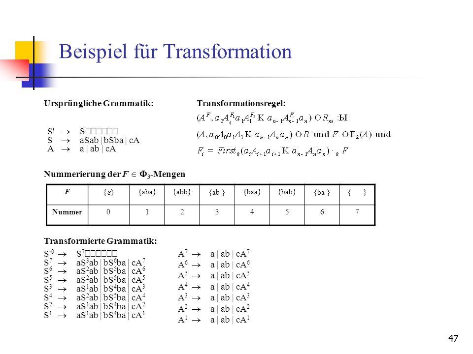 47 Beispiel für Transformation F{ }{aba}{abb}{ab }{baa}{bab}{ba }{ } Nummer01234567 S' S S aSab | bSba | cA A a | ab | cA S' 0 S 7 S 7 aS 3 ab | bS 6