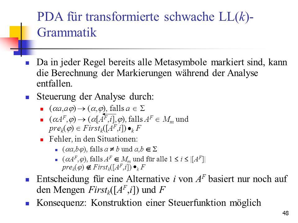 48 PDA für transformierte schwache LL(k)- Grammatik Da in jeder Regel bereits alle Metasymbole markiert sind, kann die Berechnung der Markierungen wäh