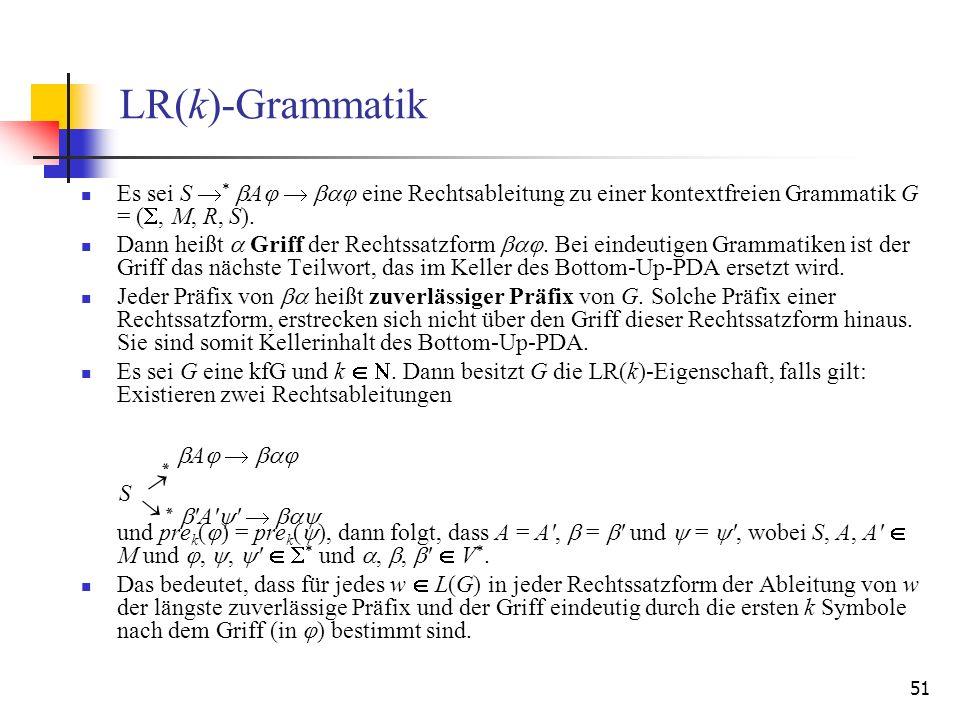 51 LR(k)-Grammatik Es sei S * A eine Rechtsableitung zu einer kontextfreien Grammatik G = (, M, R, S). Dann heißt Griff der Rechtssatzform. Bei eindeu