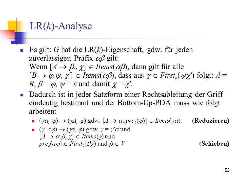 53 LR(k)-Analyse Es gilt: G hat die LR(k)-Eigenschaft, gdw. für jeden zuverlässigen Präfix gilt: Wenn [A., ] Items( ), dann gilt für alle [B., '] Item