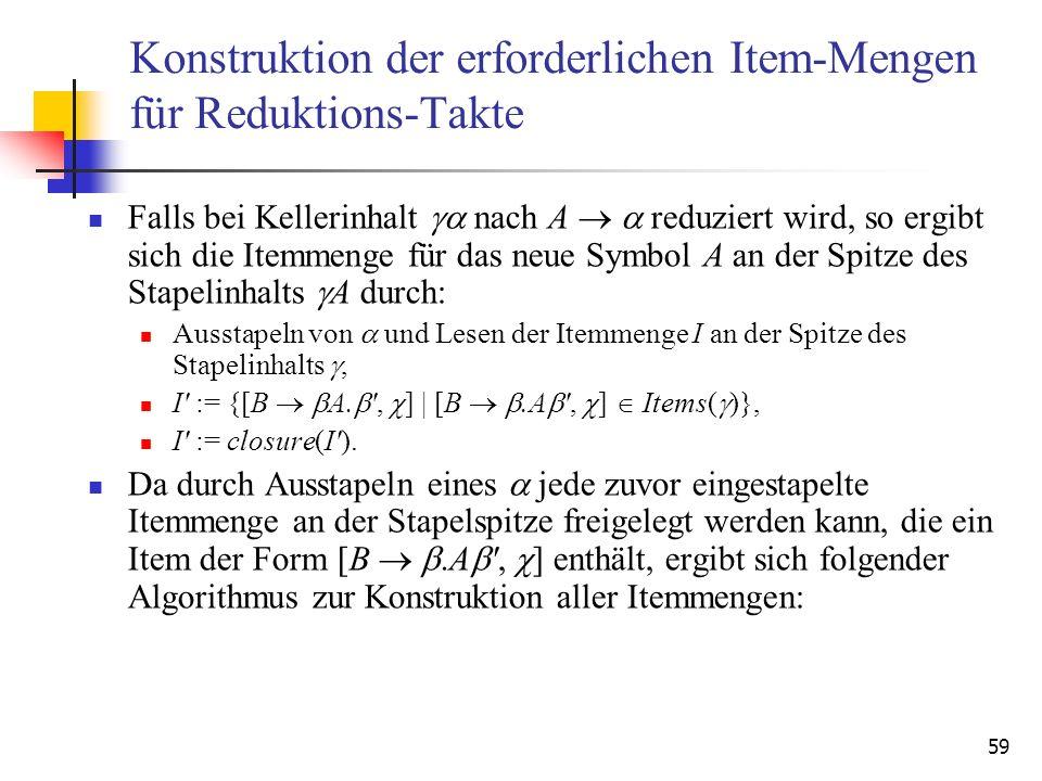59 Konstruktion der erforderlichen Item-Mengen für Reduktions-Takte Falls bei Kellerinhalt nach A reduziert wird, so ergibt sich die Itemmenge für das