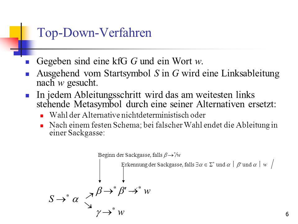 27 Follow k -Menge Es interessieren alle terminalen Zeichenketten der Länge k, die in irgendeiner Satzform hinter einem Metasymbol A auftreten können: S * A und * Follow k (A) = {First k ( ) | S * A } Berechnung durch: Follow k (A) = {First k ( ) k Follow k (B) | B A } Auch das ursprüngliche Startsymbol S der Grammatik hat in seiner Follow k -Menge nur Zeichenketten der Länge k, weil die Grammatik um die Regel S S k mit dem neuen Startsymbol S ergänzt wurde.