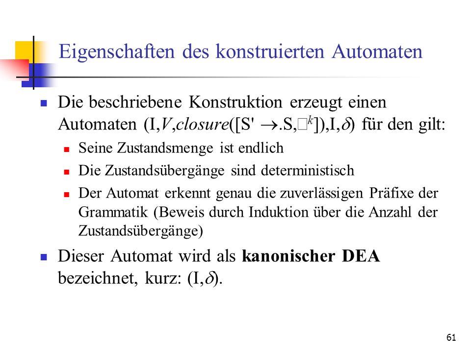61 Eigenschaften des konstruierten Automaten Die beschriebene Konstruktion erzeugt einen Automaten (I,V,closure([S'.S, k ]),I, ) für den gilt: Seine Z