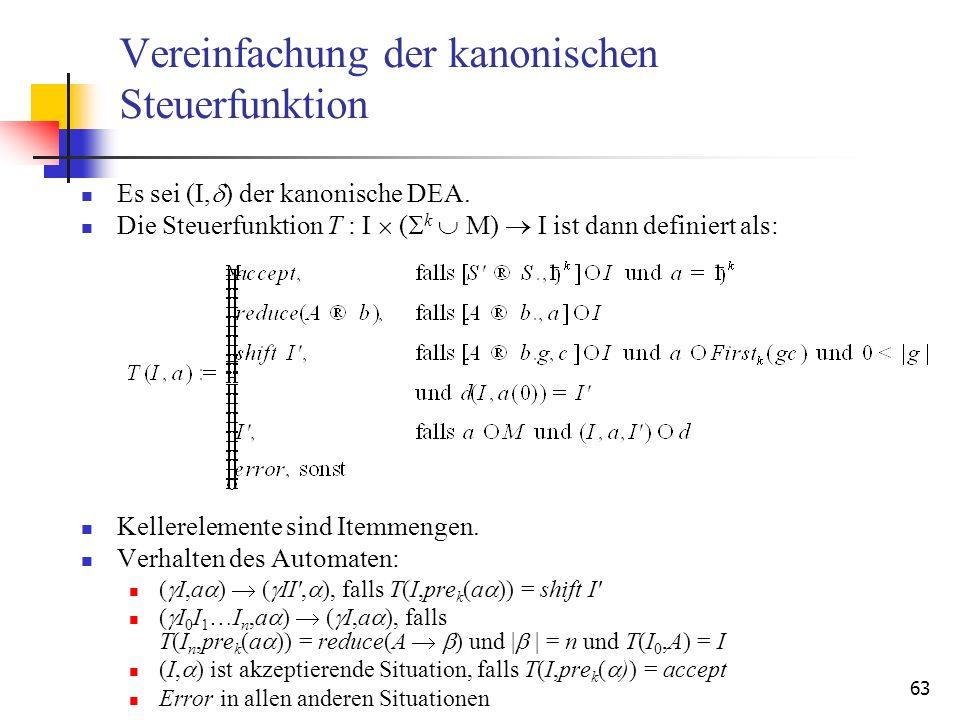 63 Vereinfachung der kanonischen Steuerfunktion Es sei (I, ) der kanonische DEA. Die Steuerfunktion T : I ( k M) I ist dann definiert als: Kellereleme
