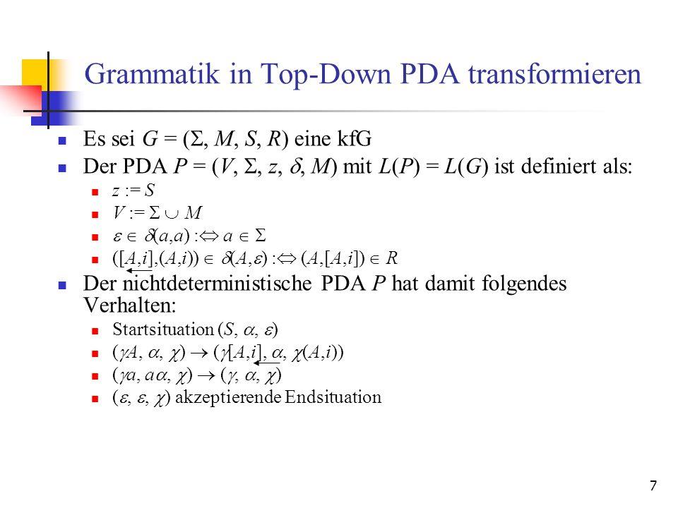 8 Zusammenhang Analysesituation des Top- Down-PDA und Ableitung in Grammatik Eine Analysesituation (,, ) eines PDA P zur Grammatik G = (, M, S, R) mit (S,, ) * (,, ) entspricht der Linkssatzform in der Linksableitung S * *.