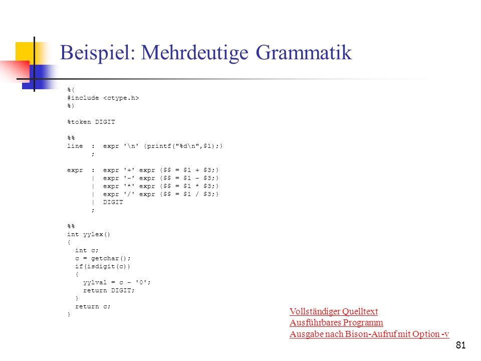81 Beispiel: Mehrdeutige Grammatik %{ #include %} %token DIGIT % line : expr '\n' {printf(