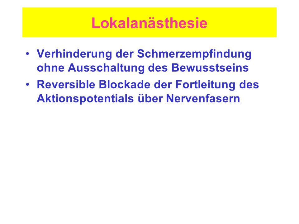Lokalanästhesie Verhinderung der Schmerzempfindung ohne Ausschaltung des Bewusstseins Reversible Blockade der Fortleitung des Aktionspotentials über N