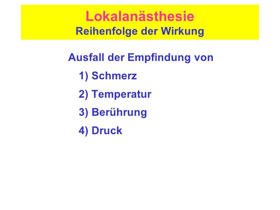 Lokalanästhesie Reihenfolge der Wirkung Ausfall der Empfindung von 1) Schmerz 2) Temperatur 3) Berührung 4) Druck