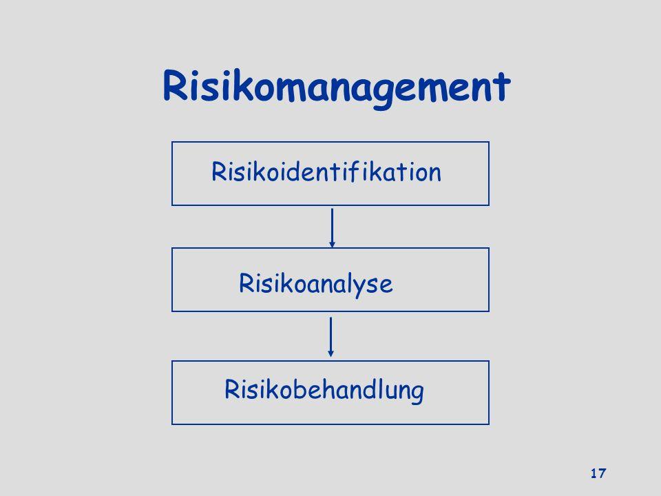 Risikomanagement Risikoidentifikation Risikoanalyse Risikobehandlung 17