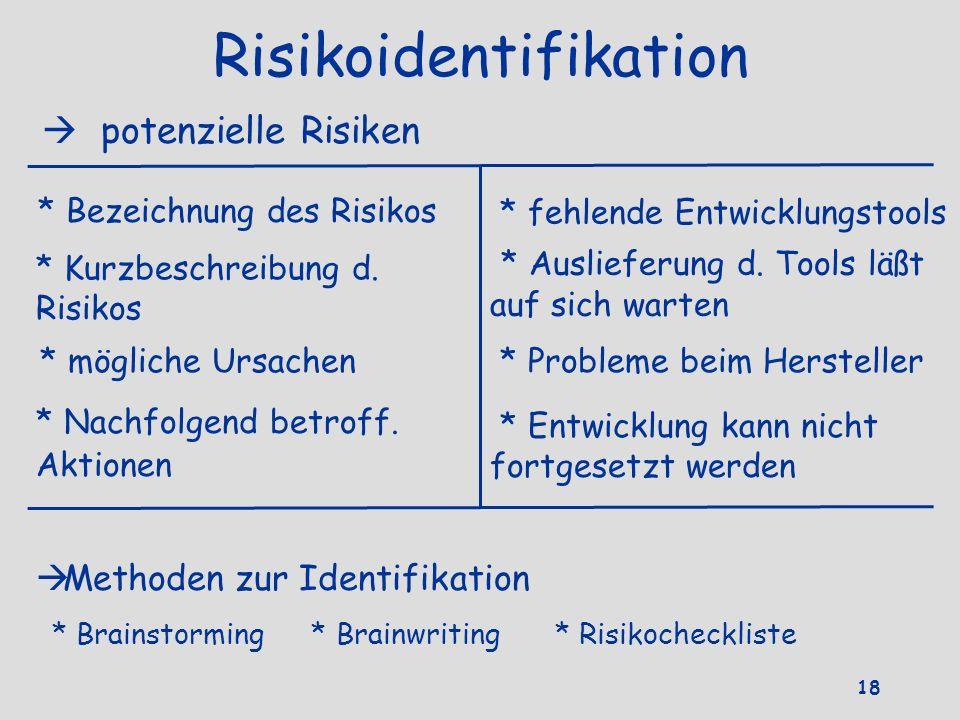 Risikoidentifikation potenzielle Risiken * fehlende Entwicklungstools * Bezeichnung des Risikos * Kurzbeschreibung d. Risikos * Auslieferung d. Tools