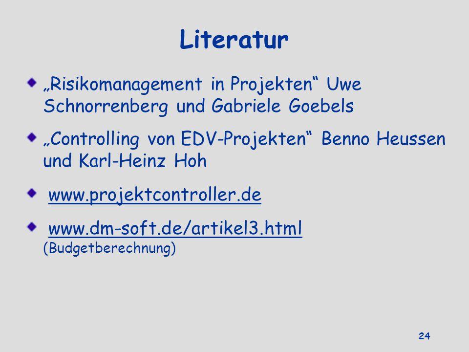 Literatur Risikomanagement in Projekten Uwe Schnorrenberg und Gabriele Goebels Controlling von EDV-Projekten Benno Heussen und Karl-Heinz Hoh www.proj