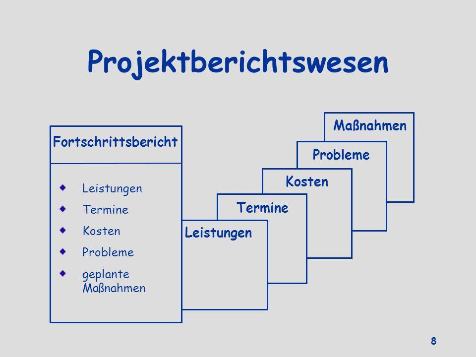 Projektberichtswesen Maßnahmen Probleme Kosten Termine Leistungen Fortschrittsbericht Leistungen Termine Kosten Probleme geplante Maßnahmen 8