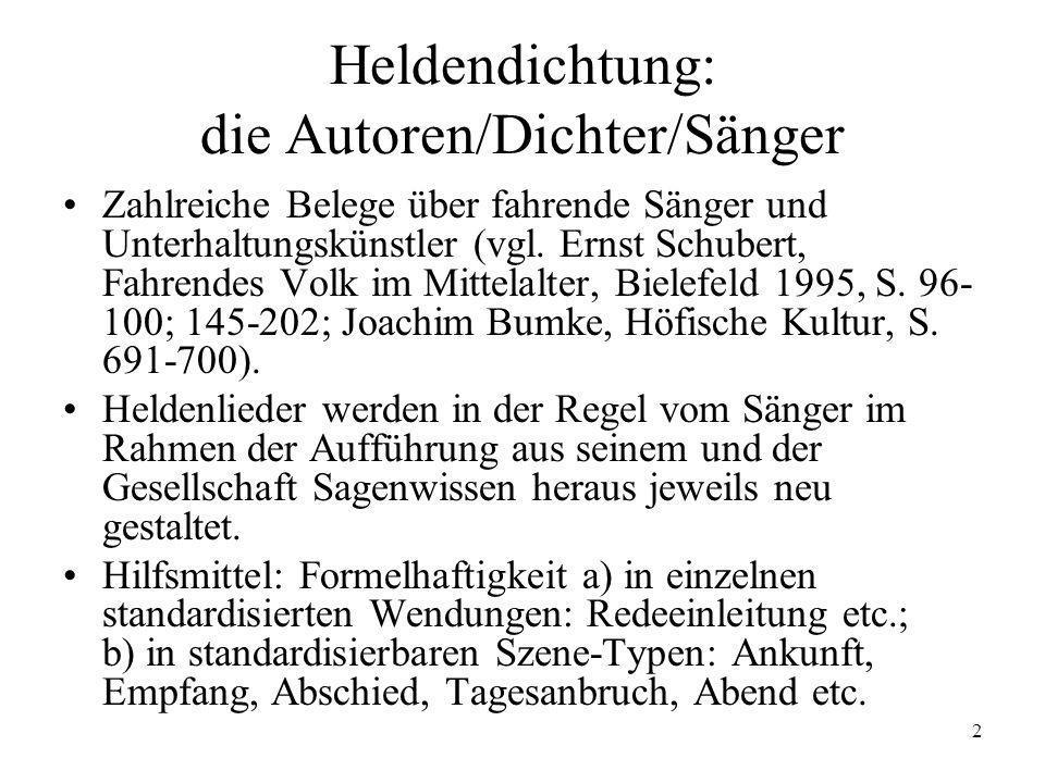 2 Heldendichtung: die Autoren/Dichter/Sänger Zahlreiche Belege über fahrende Sänger und Unterhaltungskünstler (vgl. Ernst Schubert, Fahrendes Volk im
