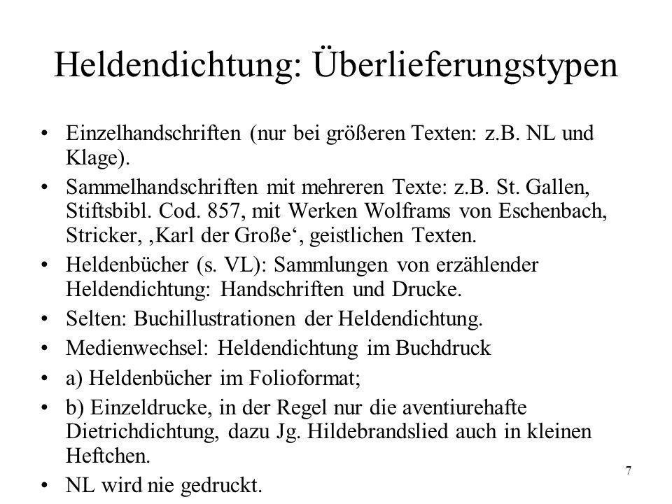 7 Heldendichtung: Überlieferungstypen Einzelhandschriften (nur bei größeren Texten: z.B. NL und Klage). Sammelhandschriften mit mehreren Texte: z.B. S