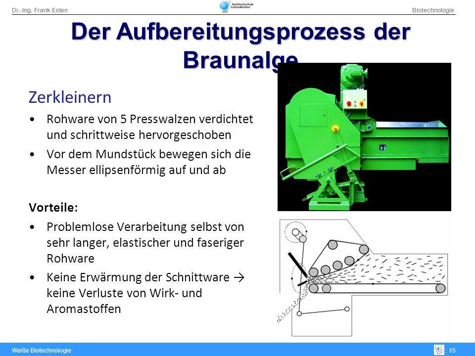 Dr.-Ing. Frank Eiden Biotechnologie Weiße Biotechnologie: 15 Zerkleinern Rohware von 5 Presswalzen verdichtet und schrittweise hervorgeschoben Vor dem