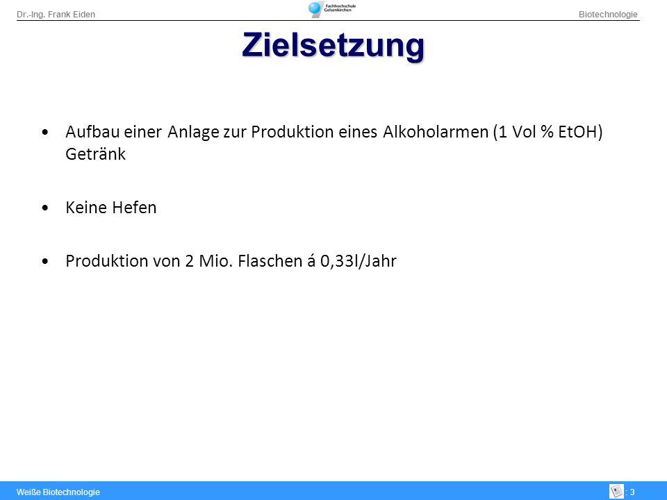 Dr.-Ing. Frank Eiden Biotechnologie Weiße Biotechnologie: 3 Zielsetzung Aufbau einer Anlage zur Produktion eines Alkoholarmen (1 Vol % EtOH) Getränk K