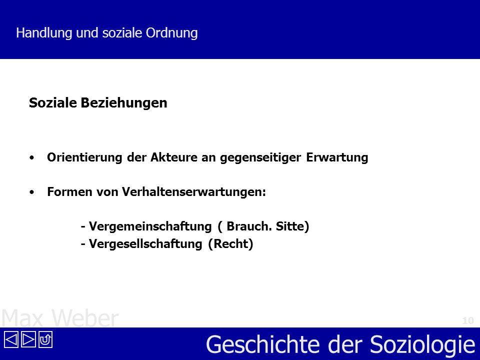 Max Weber Geschichte der Soziologie 10 Handlung und soziale Ordnung Soziale Beziehungen Orientierung der Akteure an gegenseitiger Erwartung Formen von