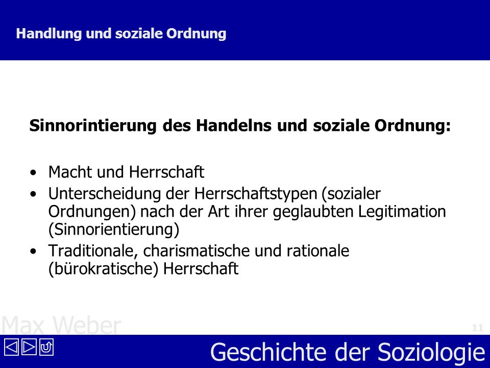 Max Weber Geschichte der Soziologie 11 Handlung und soziale Ordnung Sinnorintierung des Handelns und soziale Ordnung: Macht und Herrschaft Unterscheid