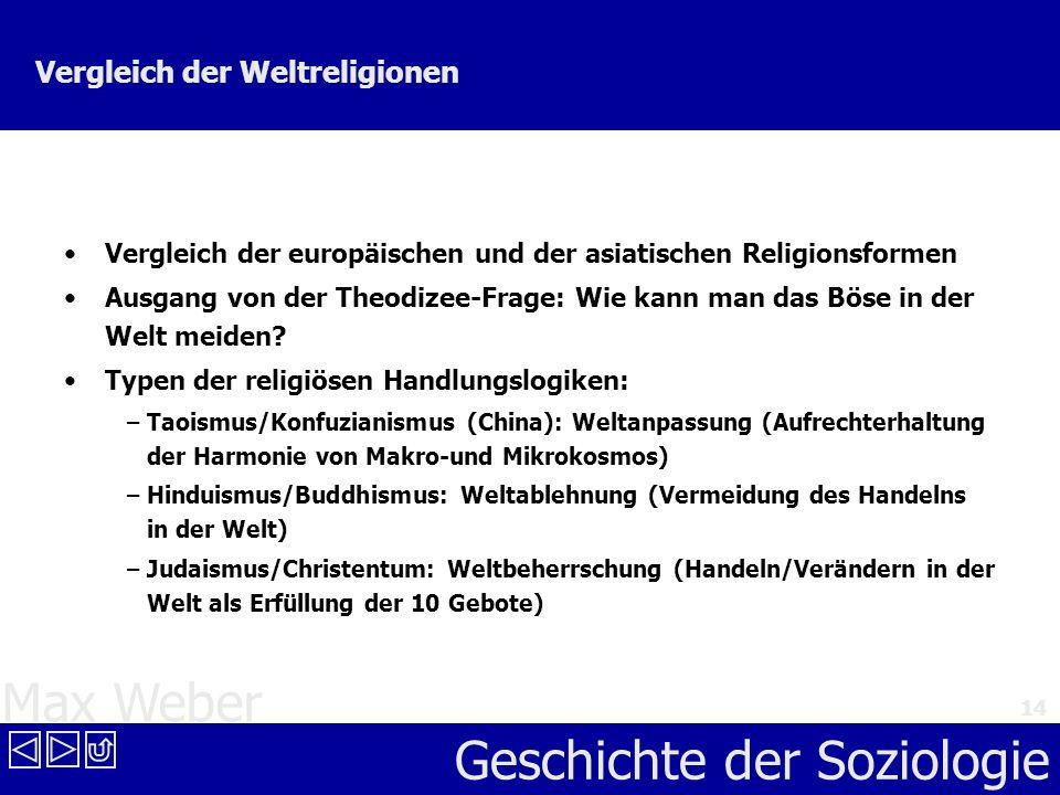 Max Weber Geschichte der Soziologie 14 Vergleich der Weltreligionen Vergleich der europäischen und der asiatischen Religionsformen Ausgang von der The