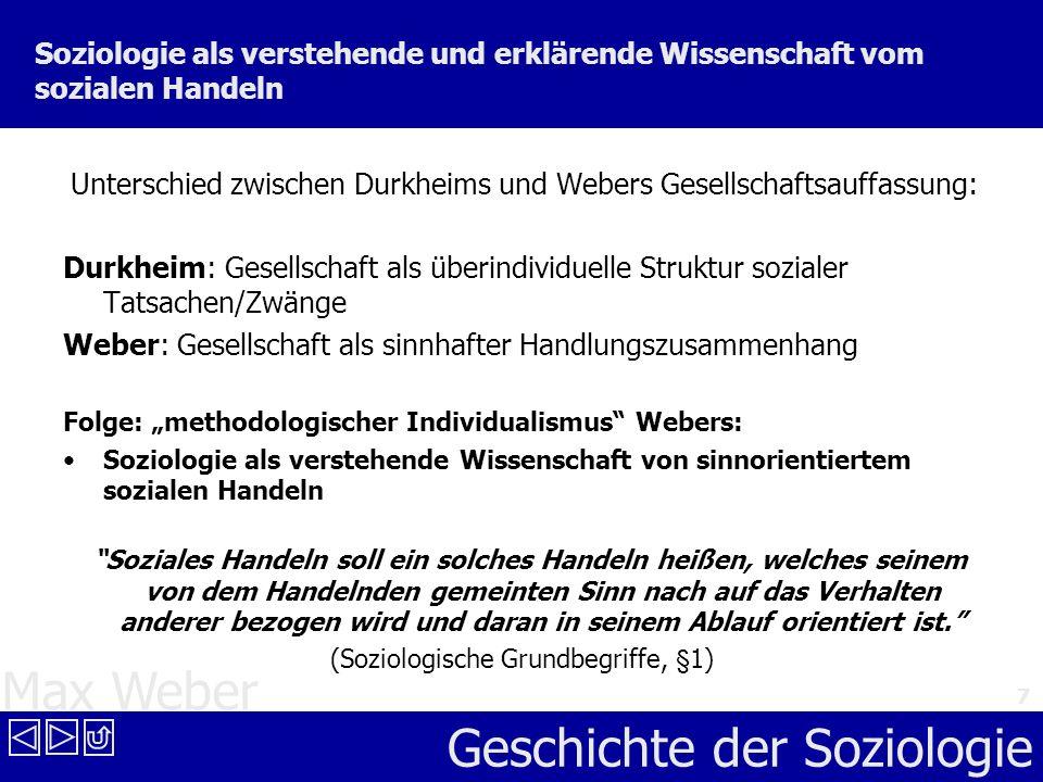 Max Weber Geschichte der Soziologie 7 Soziologie als verstehende und erklärende Wissenschaft vom sozialen Handeln Unterschied zwischen Durkheims und W