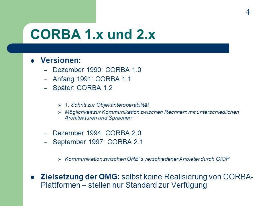 15 Clients und Server in CORBA (2) Bezeichnung: Komponente wird entweder Client oder Server genannt – Client ist Komponente, die die meiste Zeit Dienste nutzt – Server ist Komponente, die die meiste Zeit Dienste zur Verfügung stellt Client-Callback-Methode: – Methodenrückruf – Vom Client implementierte Methode, die vom Server aufgerufen wird – Client ist kurzfristig beschränkter Server