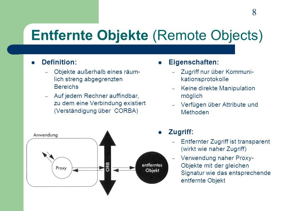 19 Zusammenfassung Geschichte – OMG – OMA – CORBA-Versionen Eckpfeiler – ORB – IDL Objektmodell – Entfernte Objekte – Objektzugriff – Objektadapter Kommunikation – GIOP – Clients und Server in CORBA – Stubs und Skeletons – DII und DSI