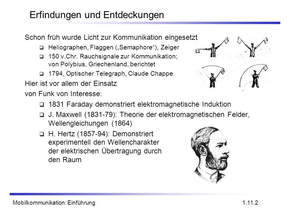 Mobilkommunikation: Einführung Erfindungen und Entdeckungen Schon früh wurde Licht zur Kommunikation eingesetzt Heliographen, Flaggen (Semaphore), Zei