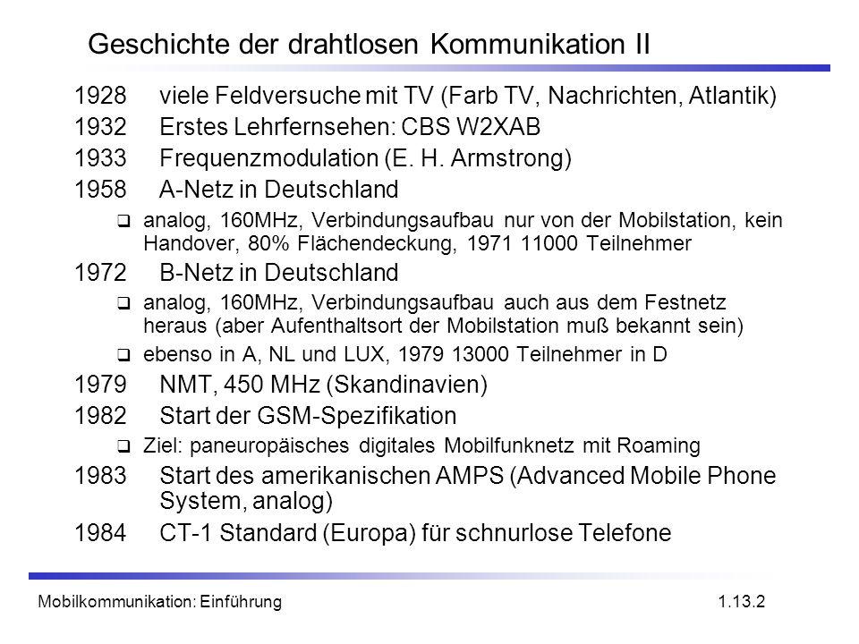 Mobilkommunikation: Einführung Geschichte der drahtlosen Kommunikation II 1928viele Feldversuche mit TV (Farb TV, Nachrichten, Atlantik) 1932 Erstes L
