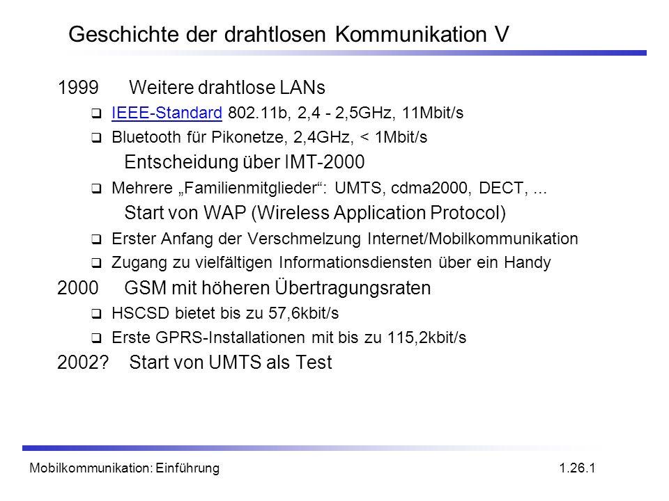 Mobilkommunikation: Einführung Geschichte der drahtlosen Kommunikation V 1999 Weitere drahtlose LANs IEEE-Standard 802.11b, 2,4 - 2,5GHz, 11Mbit/s IEE