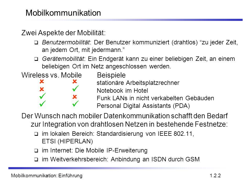 Mobilkommunikation: Einführung Geschichte der drahtlosen Kommunikation III 1986C-Netz in Deutschland analoge Sprachübertragung, 450MHz, Handover möglich, digitale Signalisierung, automatische Lokalisierung der Mobilstation abgeschaltet in 2000 1991Spezifikation des DECT-StandardsDECT Digital European Cordless Telephone (heute: Digital Enhanced Cordless Telecommunications) 1880-1900MHz, ~100-500m Reichweite, 120 Duplexkanäle, 1,2Mbit/s Datenübertragung, Sprachverschlüsselung, Authentifizierung, mehrere 10000 Nutzer/km 2, Nutzung in 40 Ländern 1992Start von GSM in D als D1 und D2, voll digital, 900MHz, 124 TrägerfrequenzenD1D2 automatische Lokalisierung, Handover, zellular Roaming in Europa - nun auch weltweit in über 150 Ländern Dienste: Daten mit 9,6 kbit/s, FAX, Sprache,...