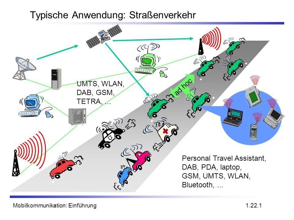 Mobilkommunikation: Einführung Typische Anwendung: Straßenverkehr ad hoc UMTS, WLAN, DAB, GSM, TETRA,... Personal Travel Assistant, DAB, PDA, laptop,