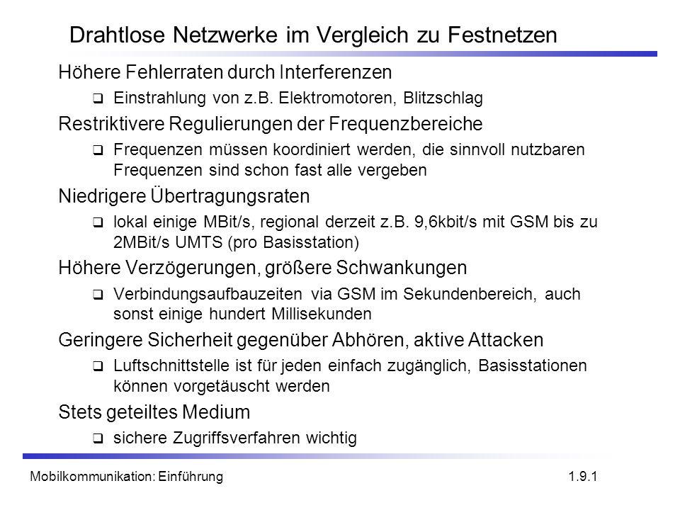 Mobilkommunikation: Einführung Drahtlose Netzwerke im Vergleich zu Festnetzen Höhere Fehlerraten durch Interferenzen Einstrahlung von z.B. Elektromoto