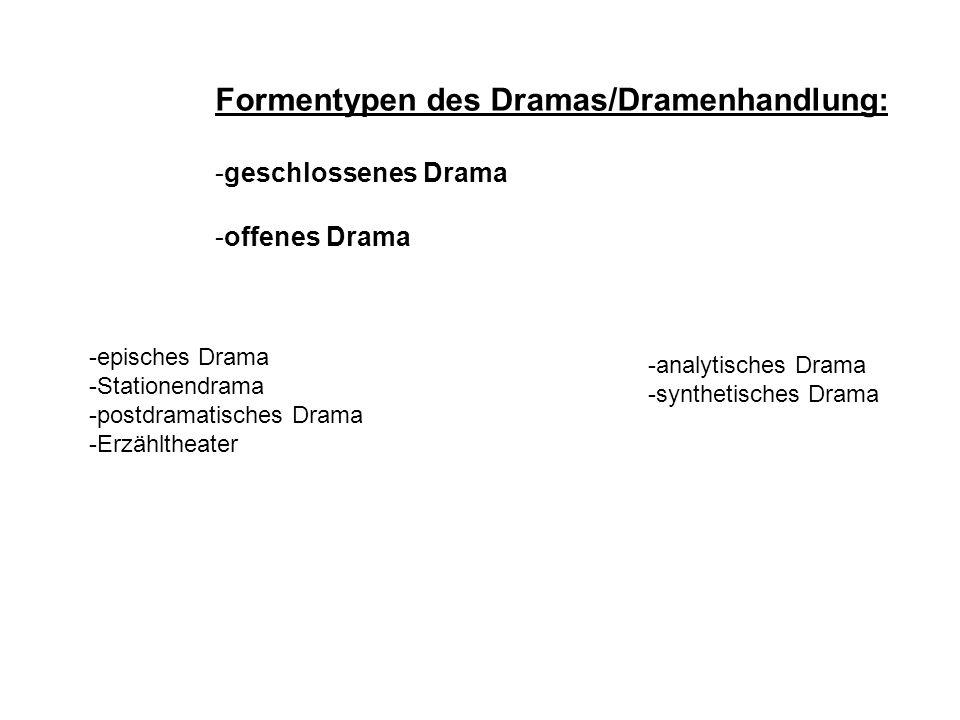 Formentypen des Dramas/Dramenhandlung: -geschlossenes Drama -offenes Drama -episches Drama -Stationendrama -postdramatisches Drama -Erzähltheater -ana