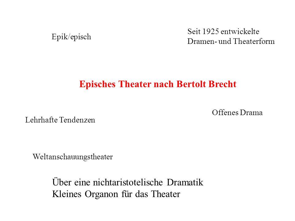 Episches Theater nach Bertolt Brecht Epik/episch Seit 1925 entwickelte Dramen- und Theaterform Offenes Drama Lehrhafte Tendenzen Weltanschauungstheate