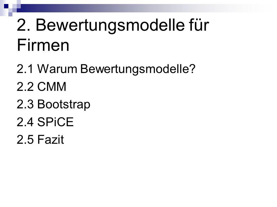 2. Bewertungsmodelle für Firmen 2.1 Warum Bewertungsmodelle? 2.2 CMM 2.3 Bootstrap 2.4 SPiCE 2.5 Fazit