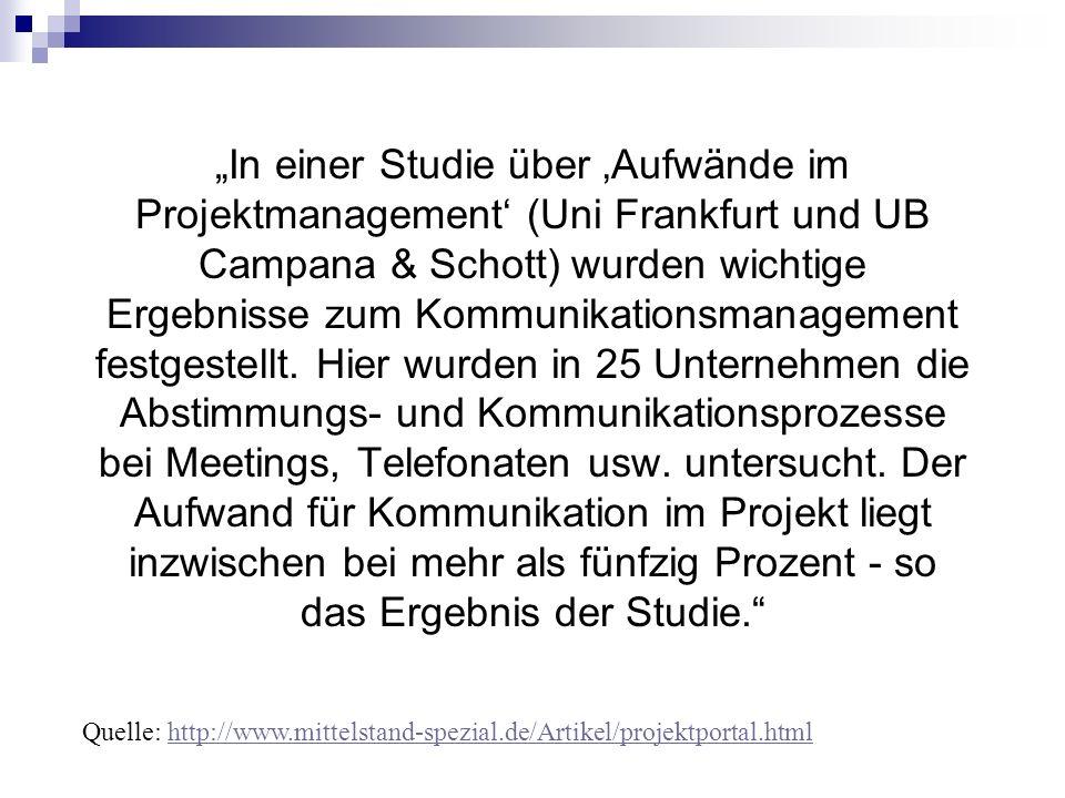 In einer Studie über Aufwände im Projektmanagement (Uni Frankfurt und UB Campana & Schott) wurden wichtige Ergebnisse zum Kommunikationsmanagement fes