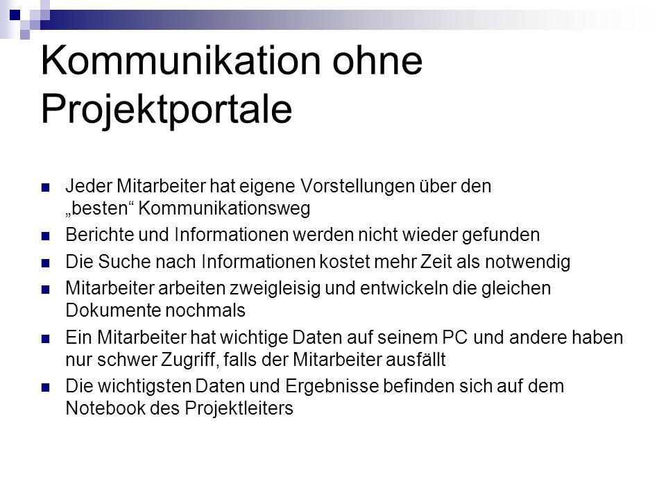 Kommunikation ohne Projektportale Jeder Mitarbeiter hat eigene Vorstellungen über den besten Kommunikationsweg Berichte und Informationen werden nicht