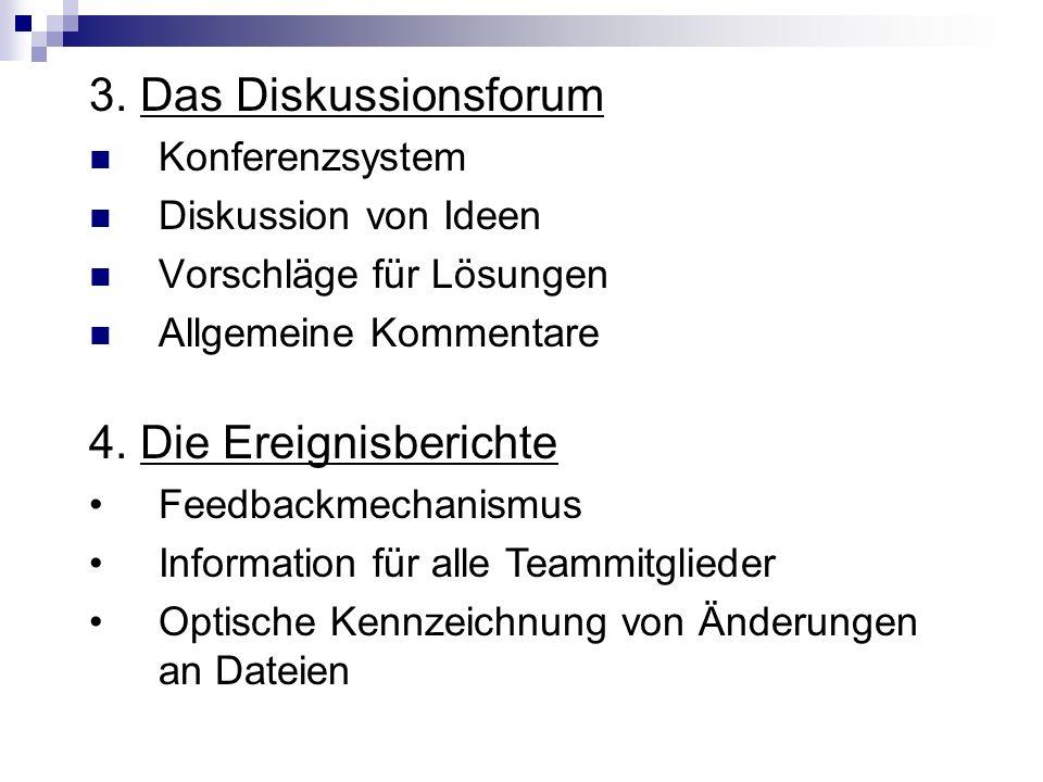 3. Das Diskussionsforum Konferenzsystem Diskussion von Ideen Vorschläge für Lösungen Allgemeine Kommentare 4. Die Ereignisberichte Feedbackmechanismus