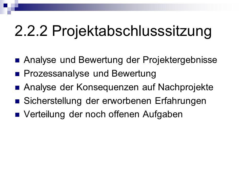 2.2.2 Projektabschlusssitzung Analyse und Bewertung der Projektergebnisse Prozessanalyse und Bewertung Analyse der Konsequenzen auf Nachprojekte Siche