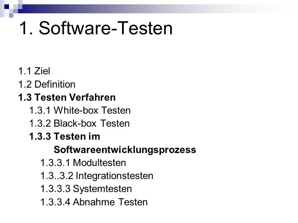 1. Software-Testen 1.1 Ziel 1.2 Definition 1.3 Testen Verfahren 1.3.1 White-box Testen 1.3.2 Black-box Testen 1.3.3 Testen im Softwareentwicklungsproz
