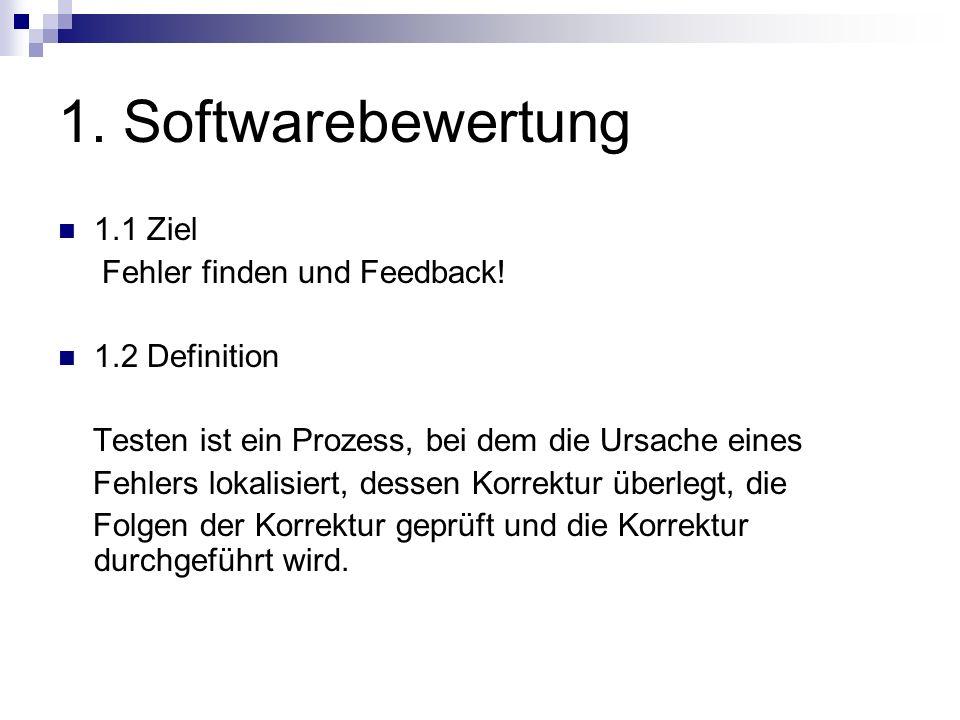 1. Softwarebewertung 1.1 Ziel Fehler finden und Feedback! 1.2 Definition Testen ist ein Prozess, bei dem die Ursache eines Fehlers lokalisiert, dessen