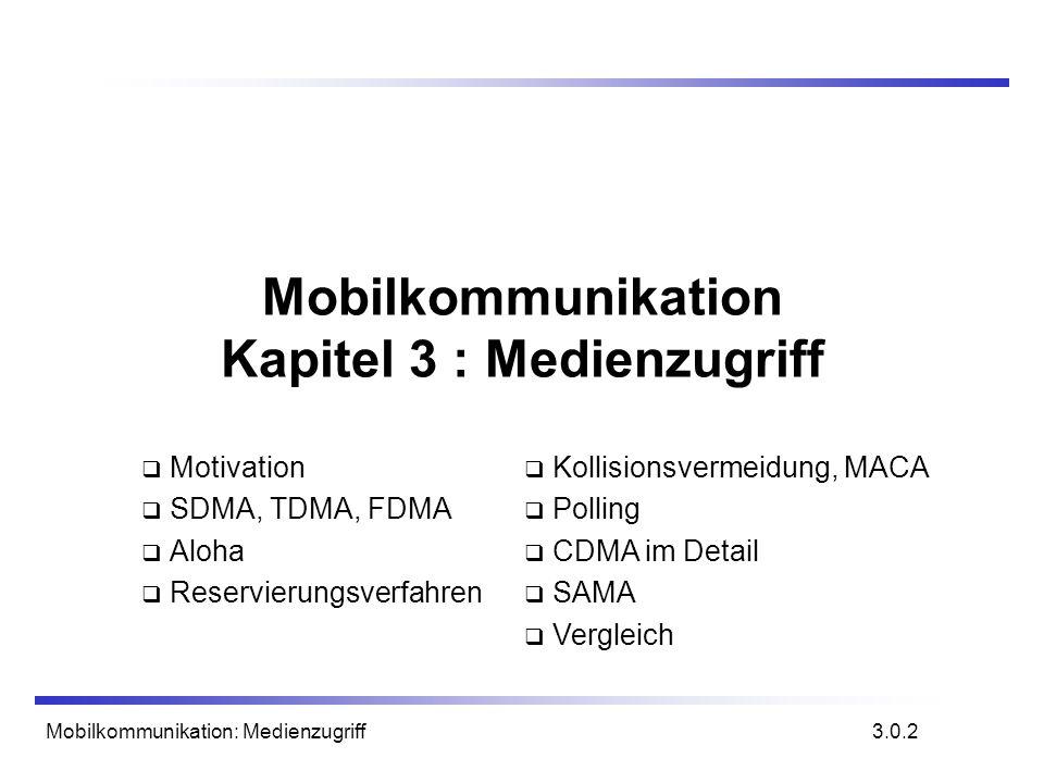 Mobilkommunikation: Medienzugriff Mobilkommunikation Kapitel 3 : Medienzugriff Motivation SDMA, TDMA, FDMA Aloha Reservierungsverfahren 3.0.2 Kollisio