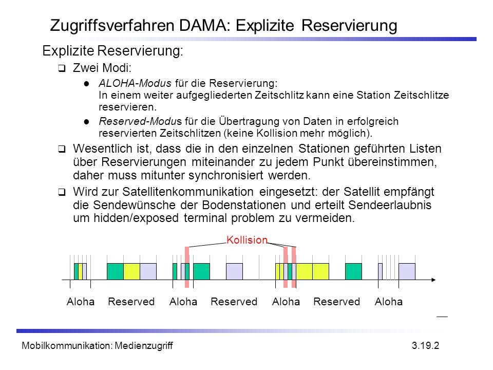 Mobilkommunikation: Medienzugriff Zugriffsverfahren DAMA: Explizite Reservierung Explizite Reservierung: Zwei Modi: ALOHA-Modus für die Reservierung:
