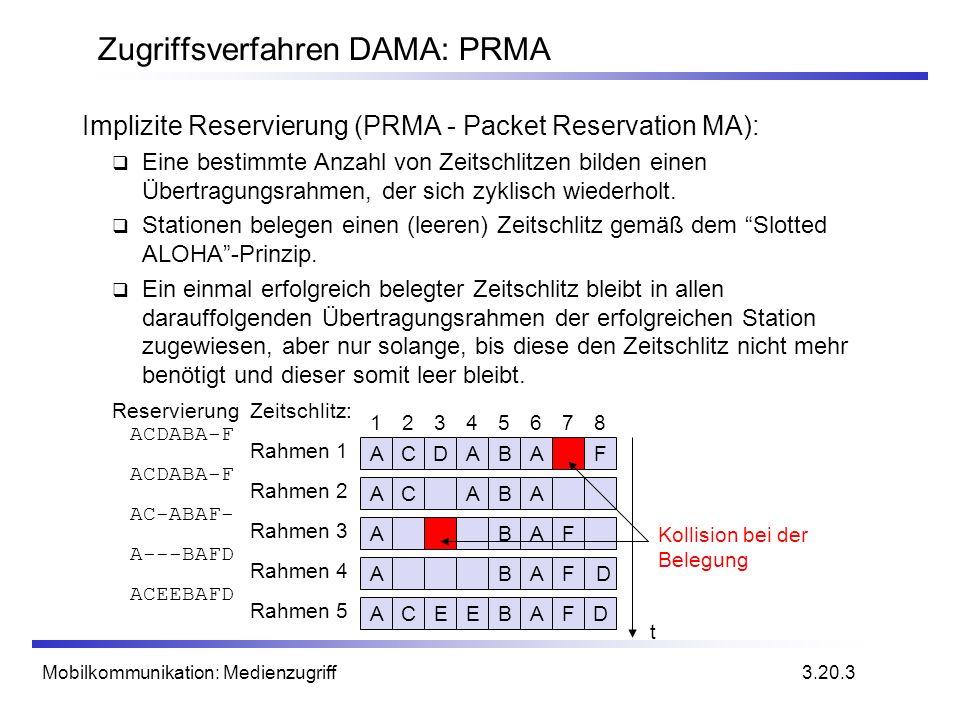 Mobilkommunikation: Medienzugriff Zugriffsverfahren DAMA: PRMA Implizite Reservierung (PRMA - Packet Reservation MA): Eine bestimmte Anzahl von Zeitsc