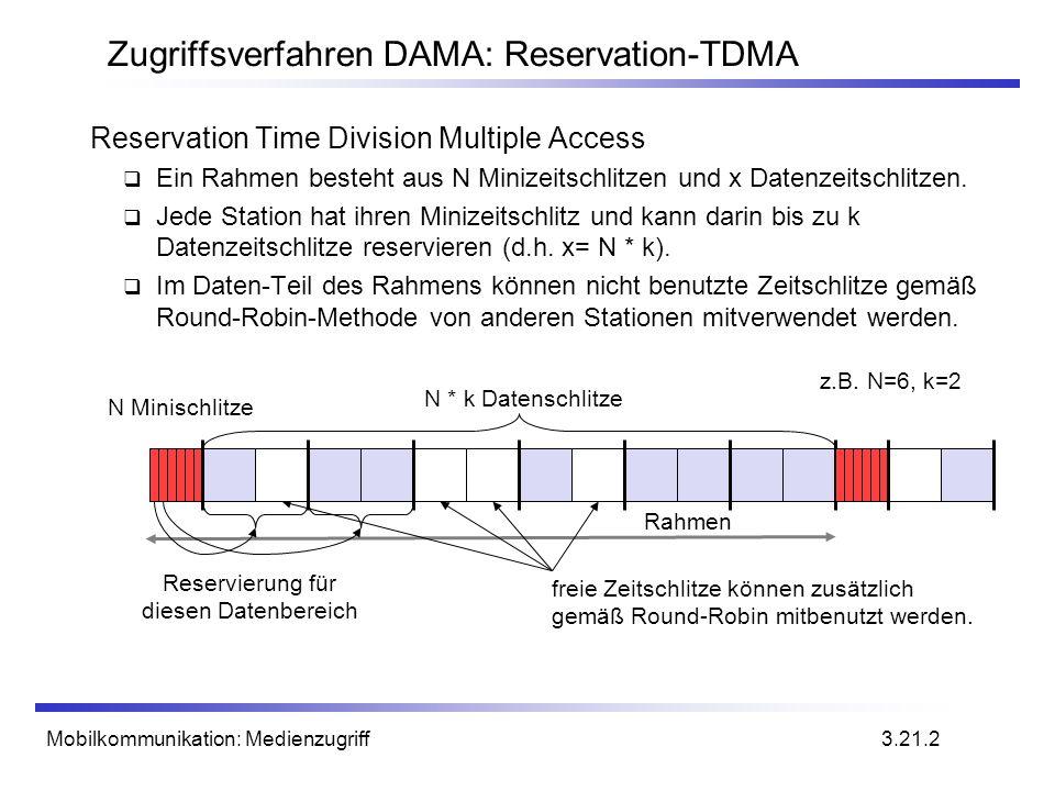 Mobilkommunikation: Medienzugriff Zugriffsverfahren DAMA: Reservation-TDMA Reservation Time Division Multiple Access Ein Rahmen besteht aus N Minizeit