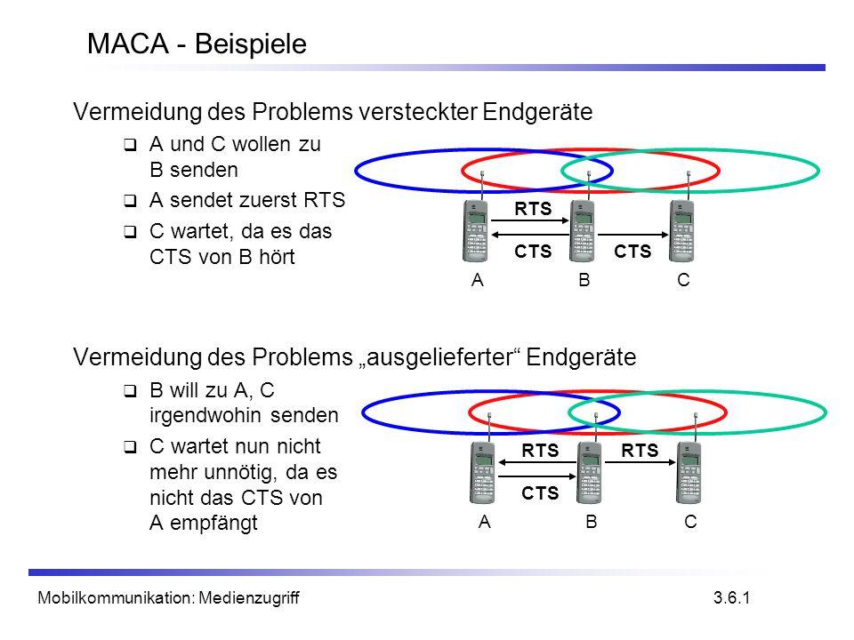Mobilkommunikation: Medienzugriff Vermeidung des Problems versteckter Endgeräte A und C wollen zu B senden A sendet zuerst RTS C wartet, da es das CTS