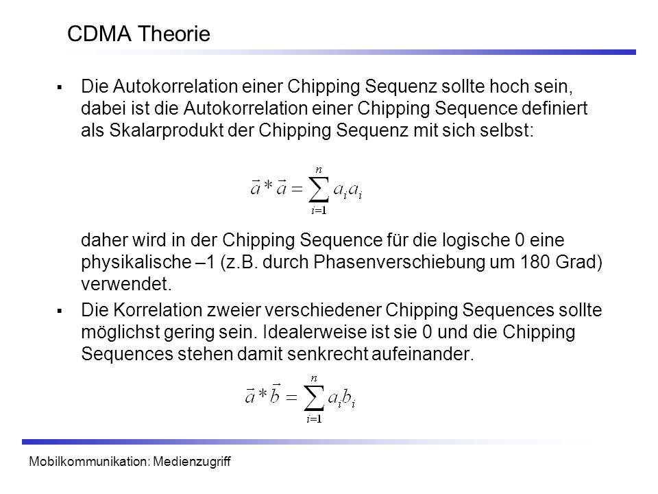 Mobilkommunikation: Medienzugriff CDMA Theorie Die Autokorrelation einer Chipping Sequenz sollte hoch sein, dabei ist die Autokorrelation einer Chippi