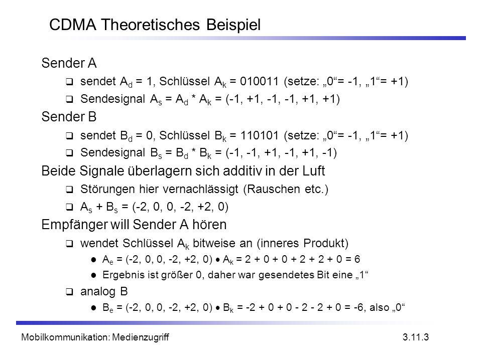 Mobilkommunikation: Medienzugriff CDMA Theoretisches Beispiel Sender A sendet A d = 1, Schlüssel A k = 010011 (setze: 0= -1, 1= +1) Sendesignal A s =