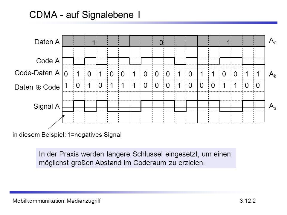 Mobilkommunikation: Medienzugriff CDMA - auf Signalebene I In der Praxis werden längere Schlüssel eingesetzt, um einen möglichst großen Abstand im Cod